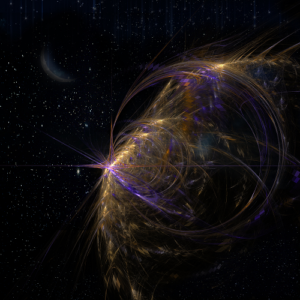 A #fractal #rendition of a #planet in #space with the #moon in the #background